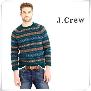 J.Crew Striped Lambs wool Fair lsle Sweater Green